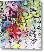 Abstract Calligraphy Metal Print