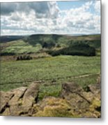 Beautiful Vibrant Landscape Image Of Burbage Edge And Rocks In S Metal Print