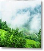 Mountain Scenery In Mist Metal Print