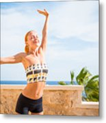 Beautiful Woman Practicing Yoga Metal Print