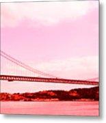 25 De Abril Bridge In Crimson Metal Print