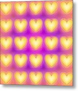 25 Little Yellow Love Hearts Metal Print