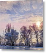 Frozen Water, Snow And Ice On The Dnieper River Metal Print