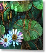 Jeweled Water Lilies Metal Print