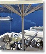 28 September 2016 Restaurant By The Aegean Sea  In Santorini, Greece  Metal Print