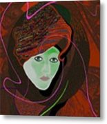 289 - Anna  With  Dark Red Cap Metal Print