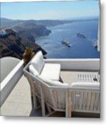 29 September 2016 Lounge Terrace And The View Of Volcanic Caldera In Santorini, Greece Metal Print