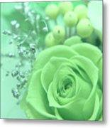 A Gift Of Preservrd Flower And Clay Flower Arrangement, White An Metal Print