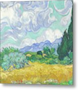 A Wheatfield With Cypresses Metal Print