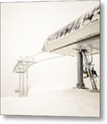 Abstract Scenes At Ski Resort During Snow Storm Metal Print