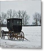 Amish Buggy Near Shipshe Metal Print