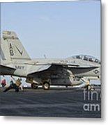 An Fa-18f Super Hornet Ready To Launch Metal Print