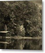 Autumn Lake Boathouse Metal Print