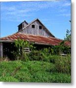 Barn In The Blue Sky Metal Print