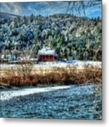 Vermont Farm By The River Metal Print