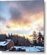Beautiful Sunrise Over Horizon On Snowshoe Mountain West Virgini Metal Print