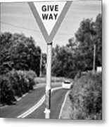 Bilingual English And Welsh Give Way Sign Anglesey Wales Uk Metal Print