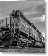 Blue Freight Train Engine At Sunrise  Metal Print