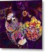 Butterfly Macro Pose Plant Green  Metal Print