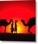 Camels At Sunset Metal Print
