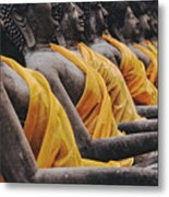 Carved Stone Buddha Statue Wat Temple Complex In Old Siam Kingdom Ayutthaya Thailand Metal Print
