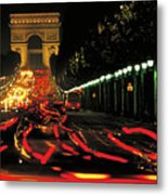 Champs Elysee At Night Metal Print