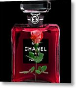 Chanel Perfume With Red Roses Metal Print