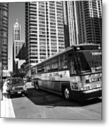 Chicago Bus And Buildings Metal Print