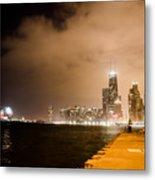 Chicago Skyline Fireworks Metal Print