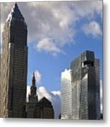Cleveland City Skyline And Old Lamp Post Metal Print