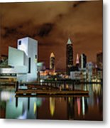 Cleveland Skyline At Night Metal Print