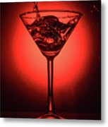 Cocktail Glass With Splashes On Red Background Metal Print