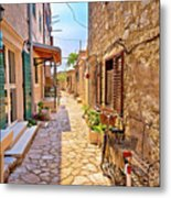 Colorful Mediterranean Stone Street Of Prvic Island Metal Print