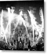 Disney Castle At Night Metal Print