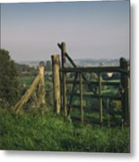 Farm Fields In Belgium Metal Print