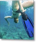 Female Snorkeling Metal Print