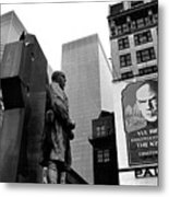 Film Homage The Fighting 69th 1940 Fr. Duffy Statue Yul Brynner Palace Theater New York 1977 Metal Print