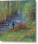 Fisher On The Bank Of The River Metal Print