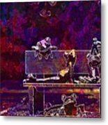 Frogs Yoga Bank Bench Relaxed  Metal Print