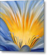 From The Heart Of A Flower Blue Metal Print