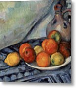 Fruit And A Jug On A Table Metal Print