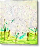 Hand Painted Picture, Spring Garden Metal Print