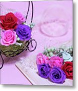 How To Make Preservrd Flower And Clay Flower Arrangement, Colorf Metal Print