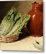 Hunt William Henry Still Life With A Jug A Cabbage In A Basket And A Gherkin William Henry Hunt Metal Print