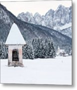 Idyllic Landscapes Immersed In The Snow. The Dream Of The Julian Alps And Valbruna Metal Print