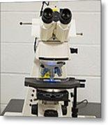Laboratory Fluorescent Microscope Metal Print