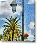 Lampost With Flowers In Nafplio Town Metal Print