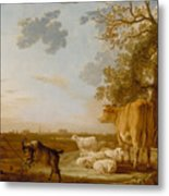 Landscape With Cattle Metal Print