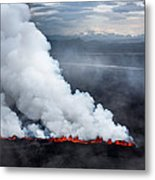 Lava And Plumes From The Holuhraun Metal Print