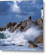 Lighthouse On The Coast, Pontusval Metal Print